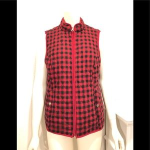 Croft and Barrow red & black plaid quilted vest